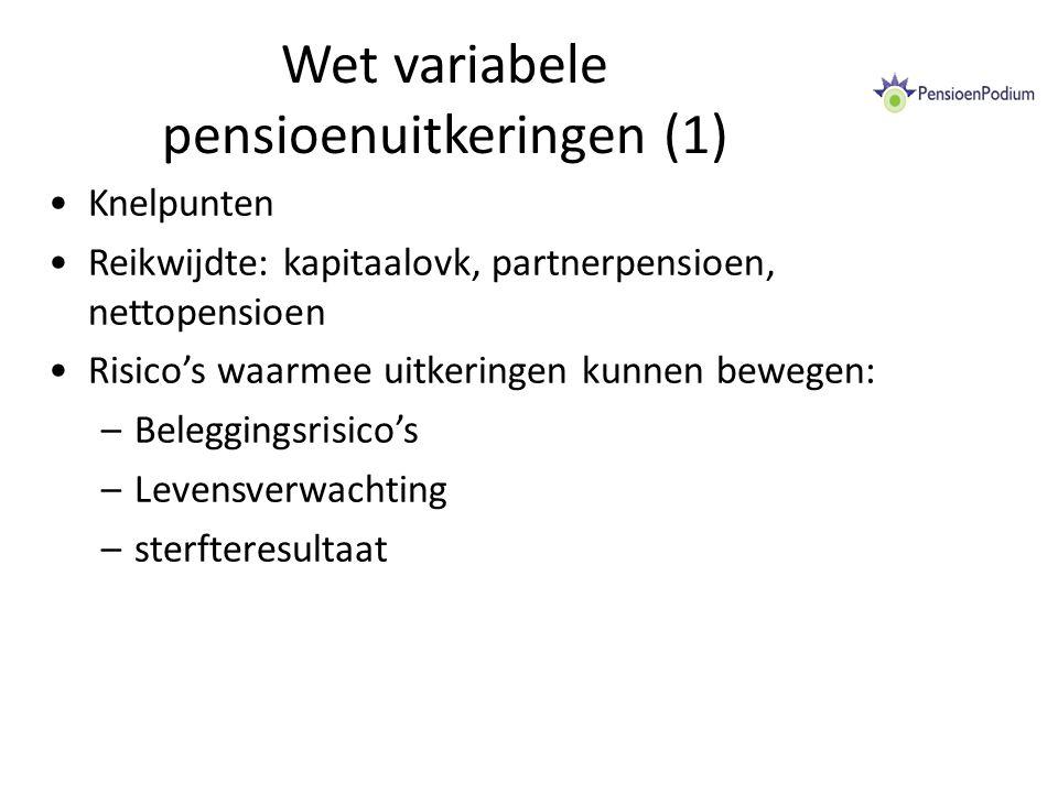 Wet variabele pensioenuitkeringen (1) Knelpunten Reikwijdte: kapitaalovk, partnerpensioen, nettopensioen Risico's waarmee uitkeringen kunnen bewegen: –Beleggingsrisico's –Levensverwachting –sterfteresultaat