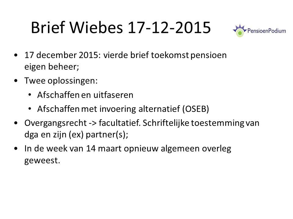Brief Wiebes 17-12-2015 17 december 2015: vierde brief toekomst pensioen eigen beheer; Twee oplossingen: Afschaffen en uitfaseren Afschaffen met invoering alternatief (OSEB) Overgangsrecht -> facultatief.