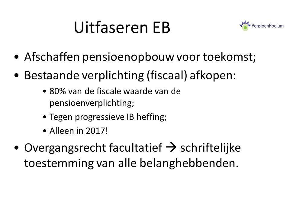 Uitfaseren EB Afschaffen pensioenopbouw voor toekomst; Bestaande verplichting (fiscaal) afkopen: 80% van de fiscale waarde van de pensioenverplichting; Tegen progressieve IB heffing; Alleen in 2017.