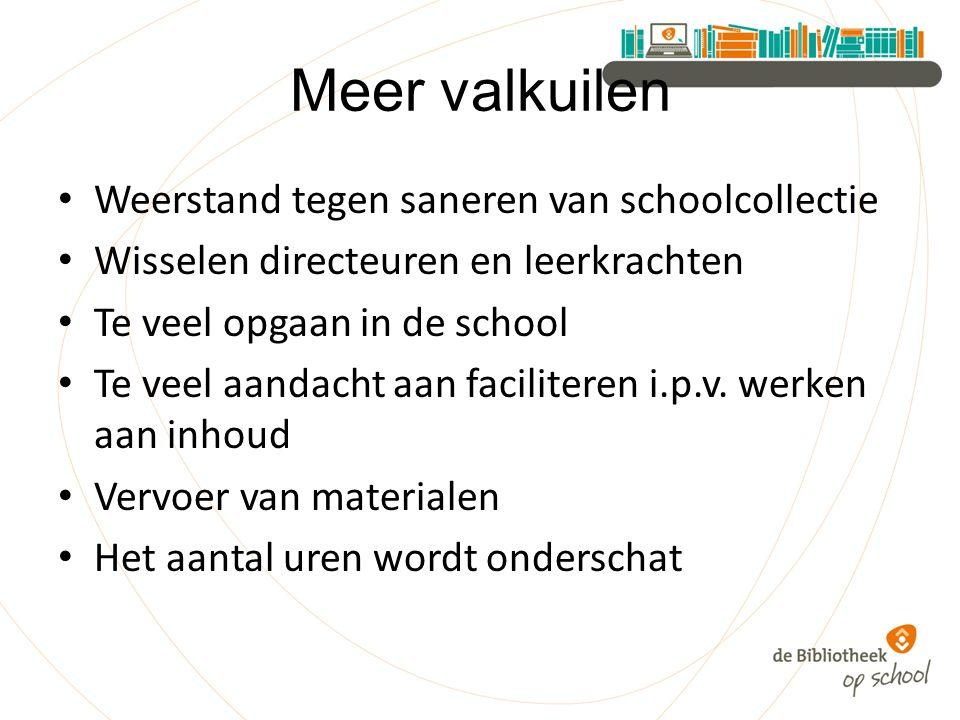 Meer valkuilen Weerstand tegen saneren van schoolcollectie Wisselen directeuren en leerkrachten Te veel opgaan in de school Te veel aandacht aan faciliteren i.p.v.