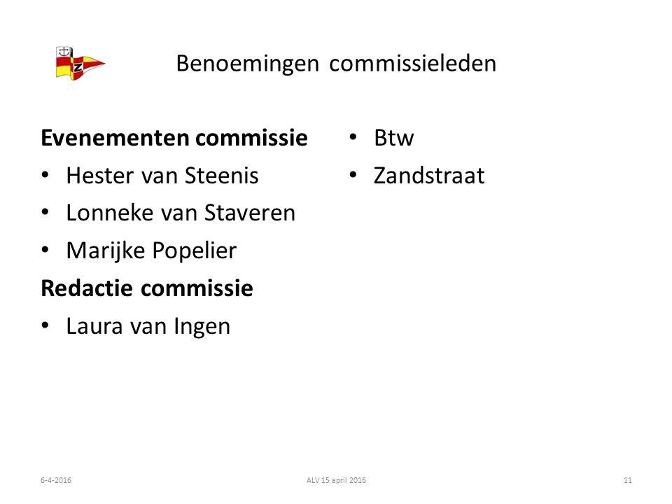 Benoemingen commissieleden Evenementen commissie Hester van Steenis Lonneke van Staveren Marijke Popelier Redactie commissie Laura van Ingen Btw Zandstraat 6-4-2016ALV 15 april 201611