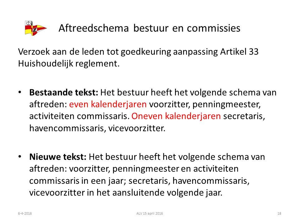 Aftreedschema bestuur en commissies Verzoek aan de leden tot goedkeuring aanpassing Artikel 33 Huishoudelijk reglement.