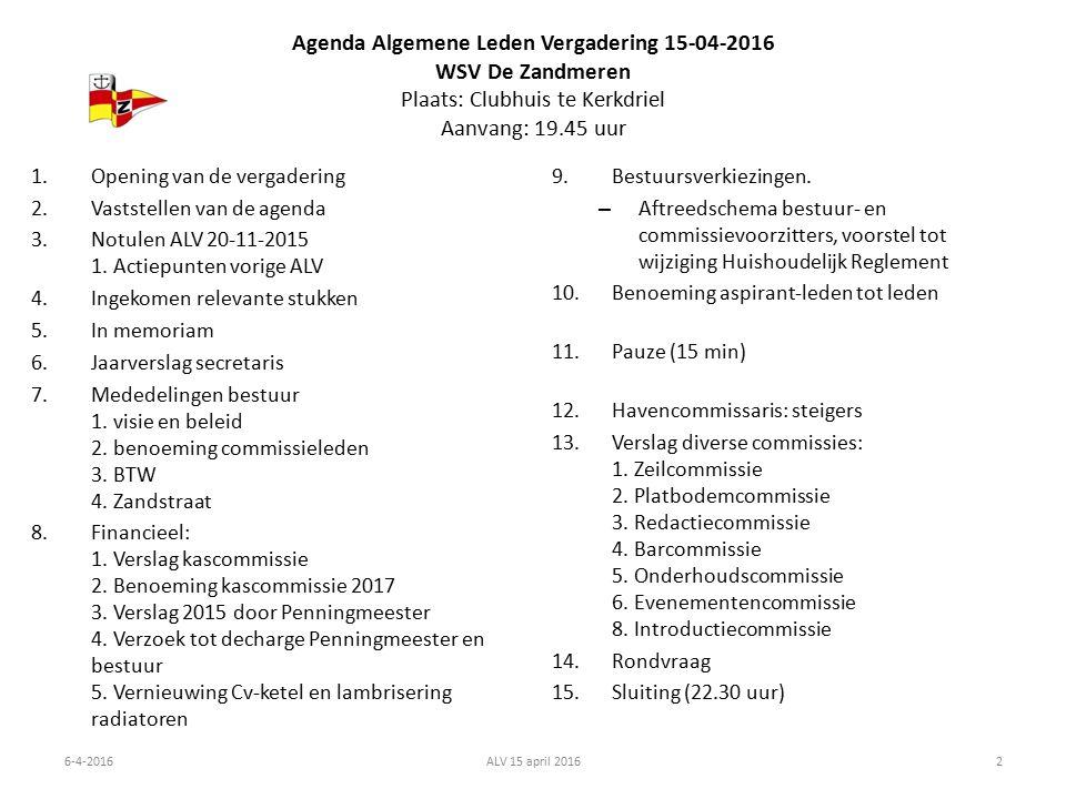 Agenda Algemene Leden Vergadering 15-04-2016 WSV De Zandmeren Plaats: Clubhuis te Kerkdriel Aanvang: 19.45 uur 1.Opening van de vergadering 2.Vaststellen van de agenda 3.Notulen ALV 20-11-2015 1.