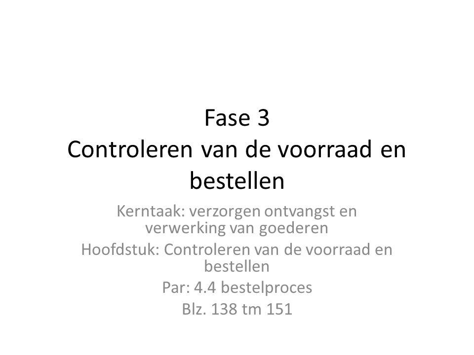 Fase 3 Controleren van de voorraad en bestellen Kerntaak: verzorgen ontvangst en verwerking van goederen Hoofdstuk: Controleren van de voorraad en bes