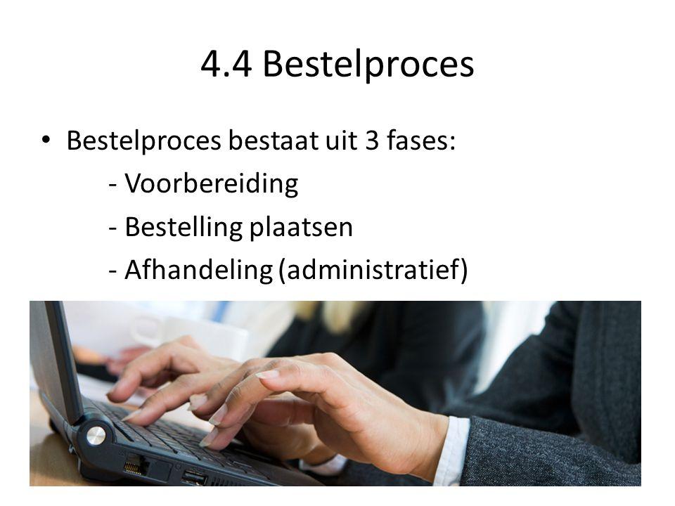 4.4 Bestelproces Bestelproces bestaat uit 3 fases: - Voorbereiding - Bestelling plaatsen - Afhandeling (administratief)