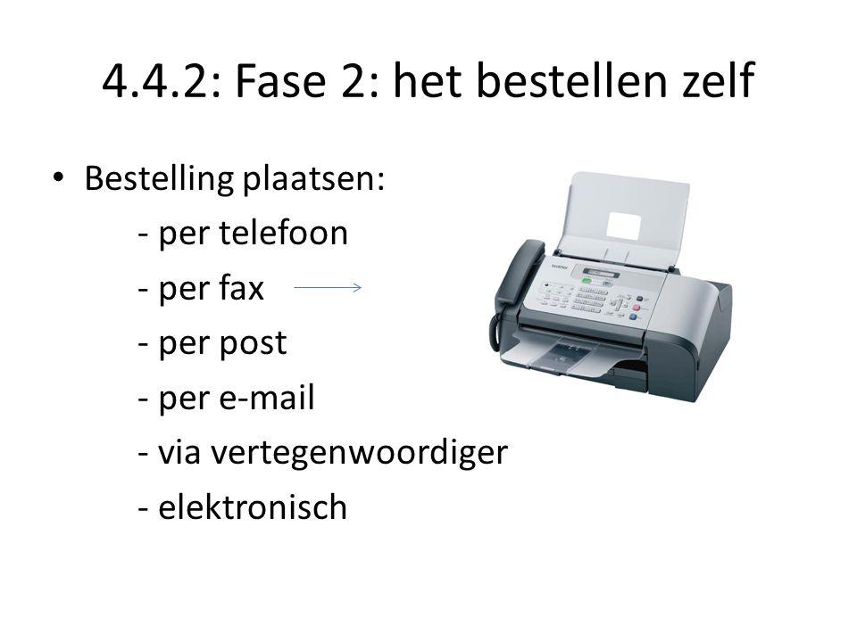 4.4.2: Fase 2: het bestellen zelf Bestelling plaatsen: - per telefoon - per fax - per post - per e-mail - via vertegenwoordiger - elektronisch
