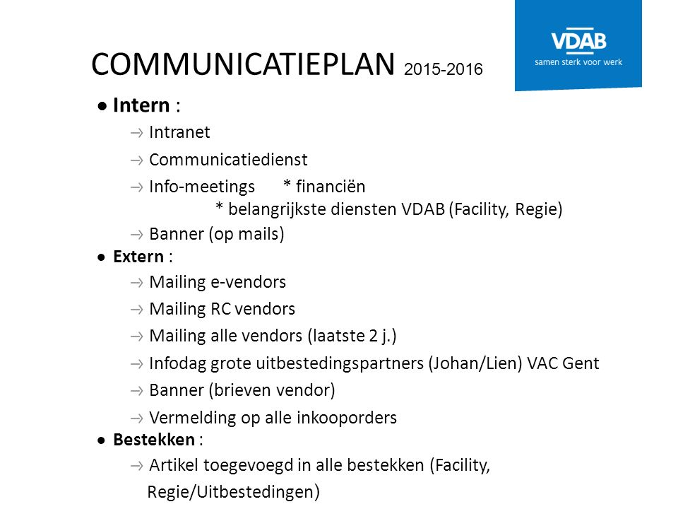 COMMUNICATIEPLAN 2015-2016 ● Intern : Intranet Communicatiedienst Info-meetings * financiën * belangrijkste diensten VDAB (Facility, Regie) Banner (op