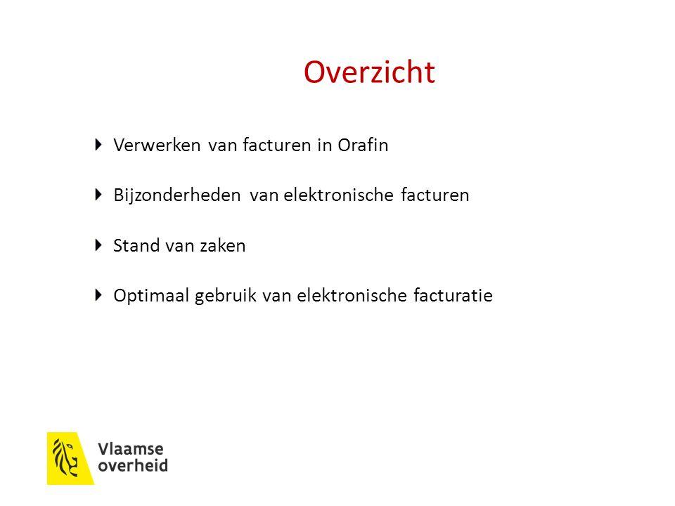 Overzicht Verwerken van facturen in Orafin Bijzonderheden van elektronische facturen Stand van zaken Optimaal gebruik van elektronische facturatie