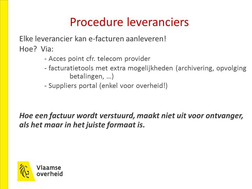 Procedure leveranciers Elke leverancier kan e-facturen aanleveren.
