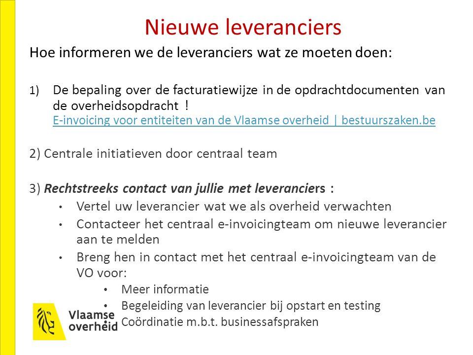 Nieuwe leveranciers Hoe informeren we de leveranciers wat ze moeten doen: 1) De bepaling over de facturatiewijze in de opdrachtdocumenten van de overheidsopdracht .