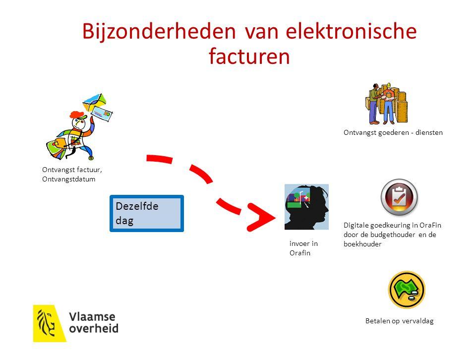 Bijzonderheden van elektronische facturen Digitale goedkeuring in OraFin door de budgethouder en de boekhouder Dezelfde dag Betalen op vervaldag invoer in Orafin Ontvangst goederen - diensten Ontvangst factuur, Ontvangstdatum