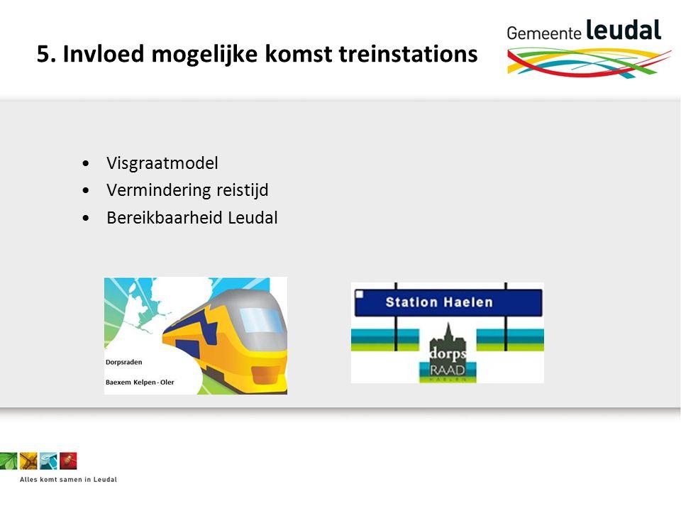 5. Invloed mogelijke komst treinstations Visgraatmodel Vermindering reistijd Bereikbaarheid Leudal