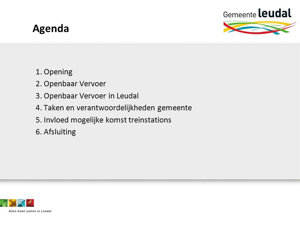 Agenda 1. Opening 2. Openbaar Vervoer 3. Openbaar Vervoer in Leudal 4.