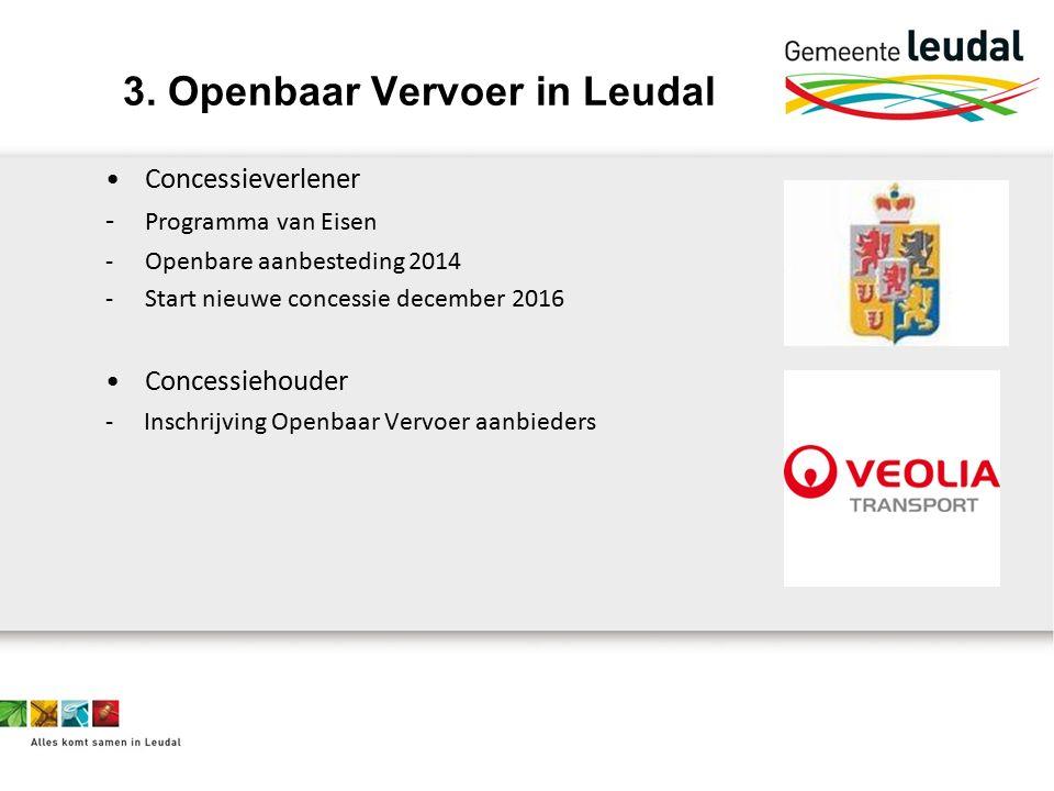 Concessieverlener - Programma van Eisen -Openbare aanbesteding 2014 -Start nieuwe concessie december 2016 Concessiehouder - Inschrijving Openbaar Vervoer aanbieders 3.