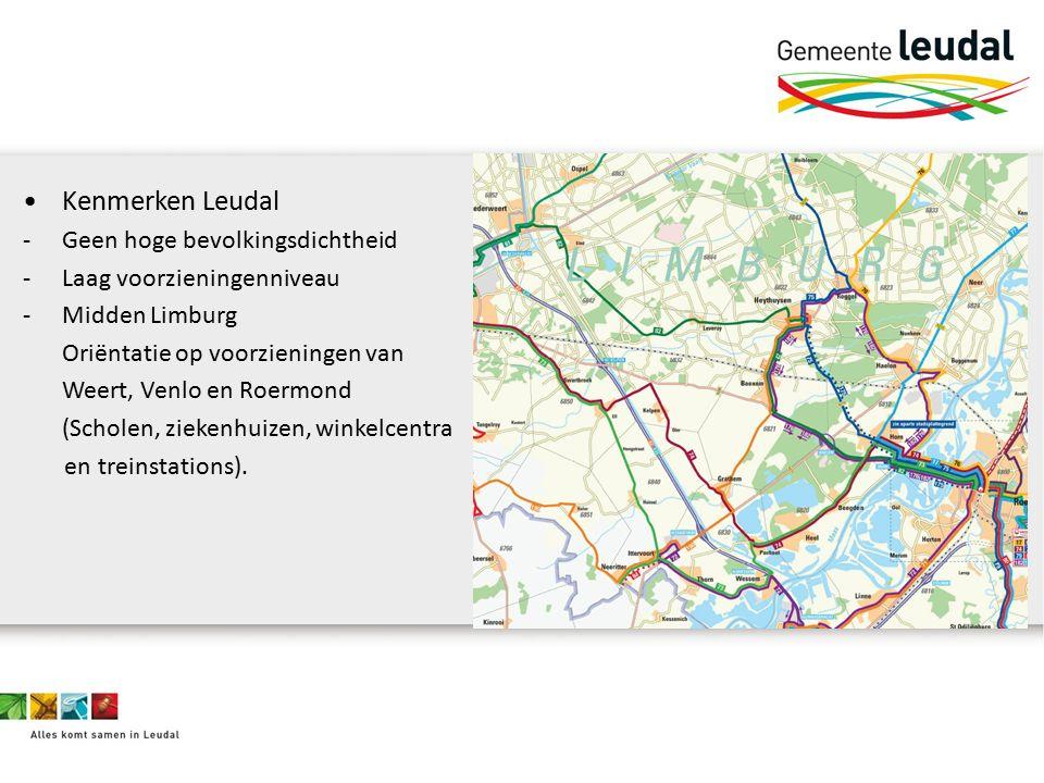 Kenmerken Leudal -Geen hoge bevolkingsdichtheid -Laag voorzieningenniveau -Midden Limburg Oriëntatie op voorzieningen van Weert, Venlo en Roermond (Scholen, ziekenhuizen, winkelcentra en treinstations).