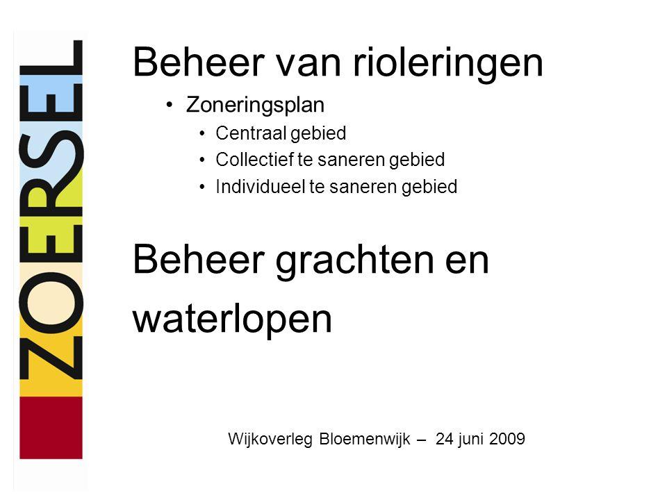 Beheer van rioleringen Zoneringsplan Centraal gebied Collectief te saneren gebied Individueel te saneren gebied Beheer grachten en waterlopen Wijkoverleg Bloemenwijk – 24 juni 2009