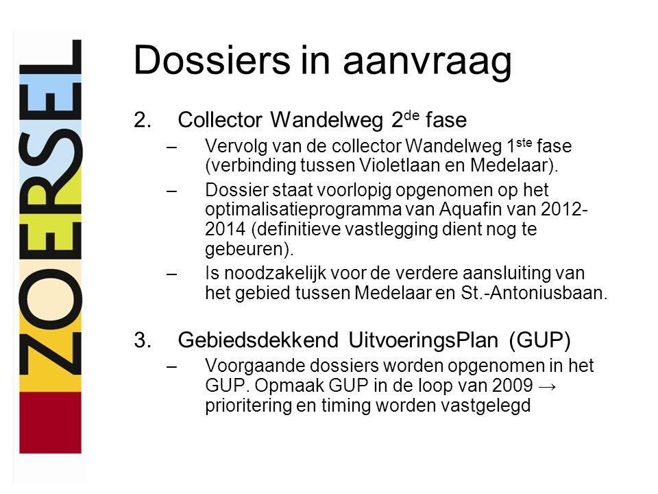Dossiers in aanvraag 2.Collector Wandelweg 2 de fase –Vervolg van de collector Wandelweg 1 ste fase (verbinding tussen Violetlaan en Medelaar).