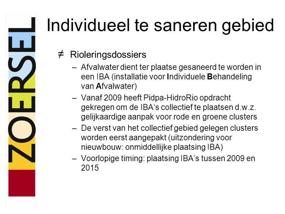 Individueel te saneren gebied ≠ Rioleringsdossiers –Afvalwater dient ter plaatse gesaneerd te worden in een IBA (installatie voor Individuele Behandeling van Afvalwater) –Vanaf 2009 heeft Pidpa-HidroRio opdracht gekregen om de IBA's collectief te plaatsen d.w.z.