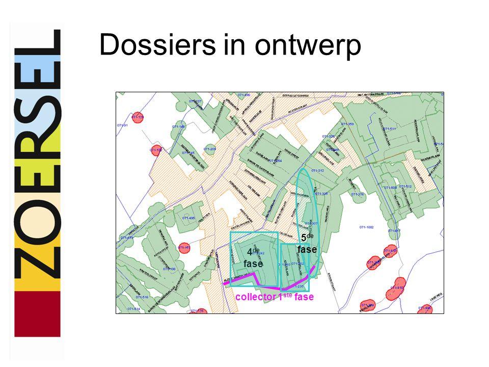 Dossiers in ontwerp Collector Wandelweg fase 1 + Bloemenwijk fase 4 en fase 5 –Gecombineerd dossier met Aquafin, Pidpa- HidroRio en gemeente (Pidpa-HidroRio is opdrachtgever) –Ontwerpdossier was klaar voorjaar 2008 –Bouwaanvraag opgestuurd op 29 april 2008 en bouwvergunning ontvangen op 8 juni 2009 –Aanbesteding werd georganiseerd voor het rooien van de bomen.