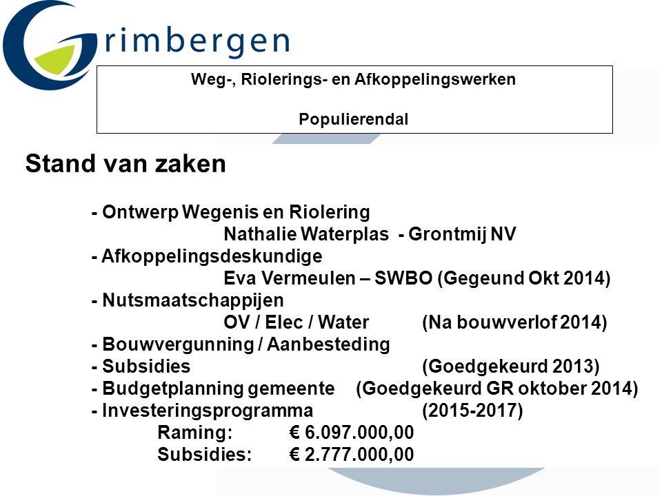 Weg-, Riolerings- en Afkoppelingswerken Populierendal Stand van zaken - Ontwerp Wegenis en Riolering Nathalie Waterplas - Grontmij NV - Afkoppelingsde