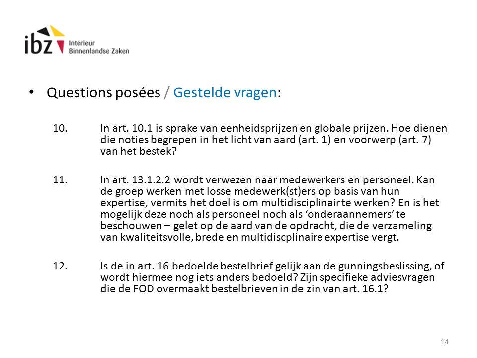 Questions posées / Gestelde vragen: 10.In art.