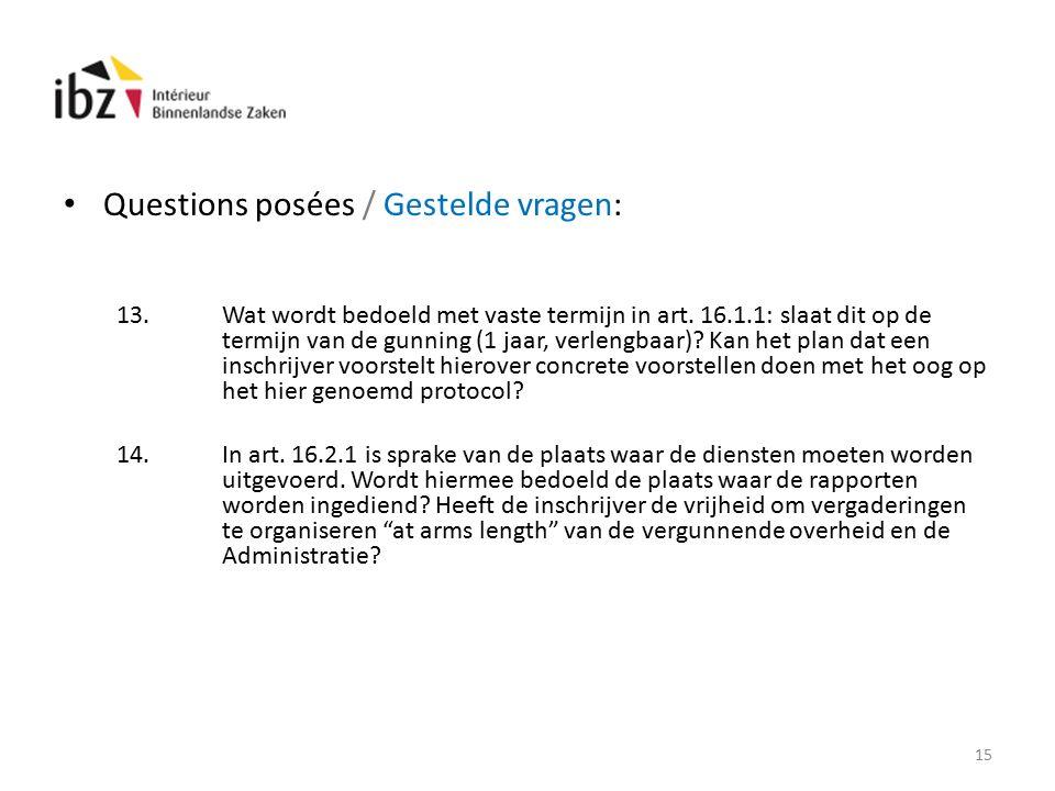 Questions posées / Gestelde vragen: 13.Wat wordt bedoeld met vaste termijn in art.