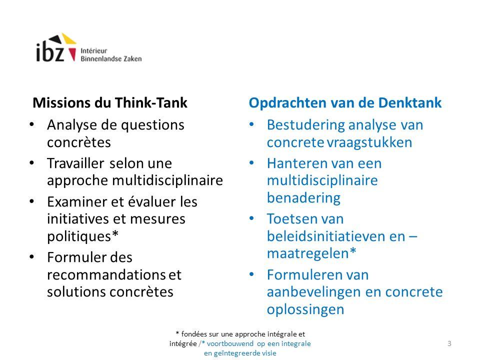 Missions du Think-Tank Analyse de questions concrètes Travailler selon une approche multidisciplinaire Examiner et évaluer les initiatives et mesures