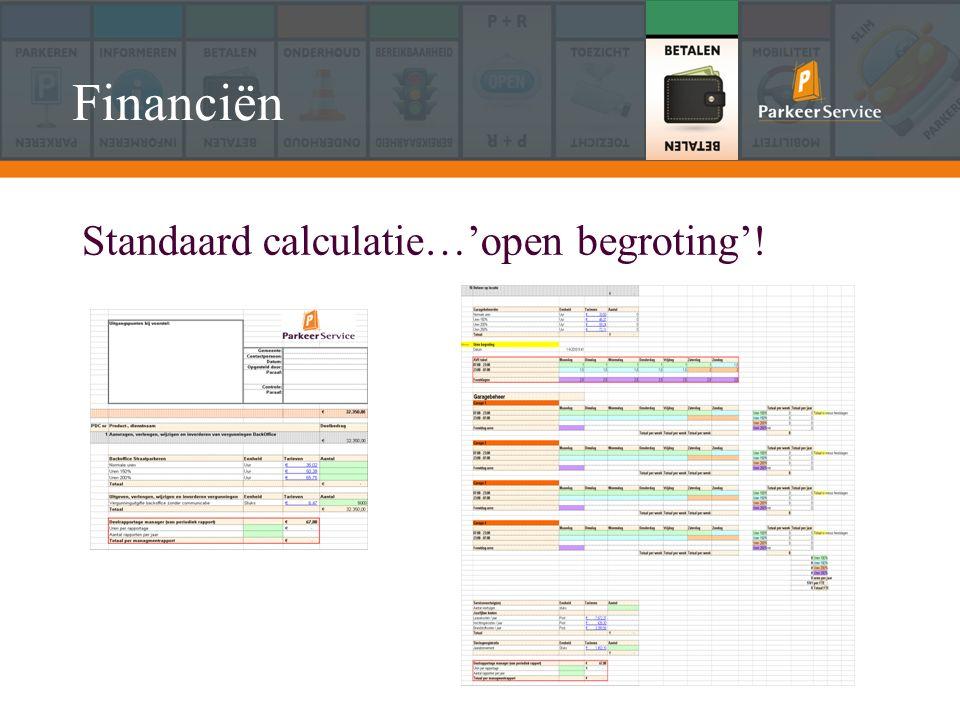 Standaard calculatie…'open begroting'! Financiën