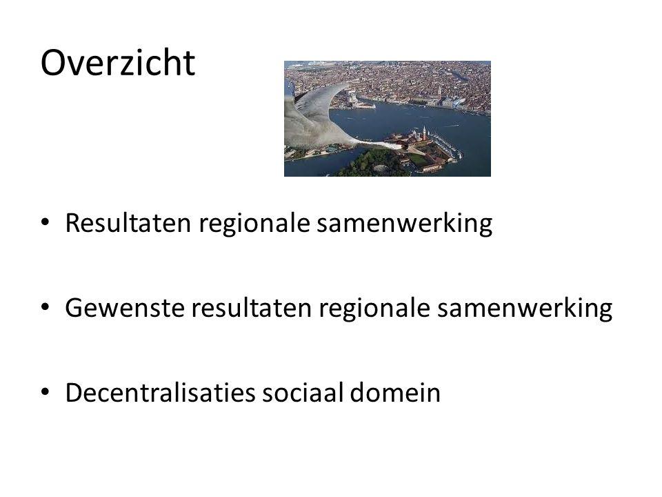 Overzicht Resultaten regionale samenwerking Gewenste resultaten regionale samenwerking Decentralisaties sociaal domein