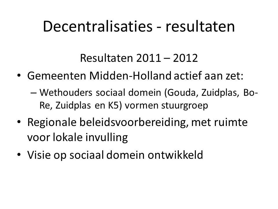 Decentralisaties - resultaten Resultaten 2011 – 2012 Gemeenten Midden-Holland actief aan zet: – Wethouders sociaal domein (Gouda, Zuidplas, Bo- Re, Zuidplas en K5) vormen stuurgroep Regionale beleidsvoorbereiding, met ruimte voor lokale invulling Visie op sociaal domein ontwikkeld