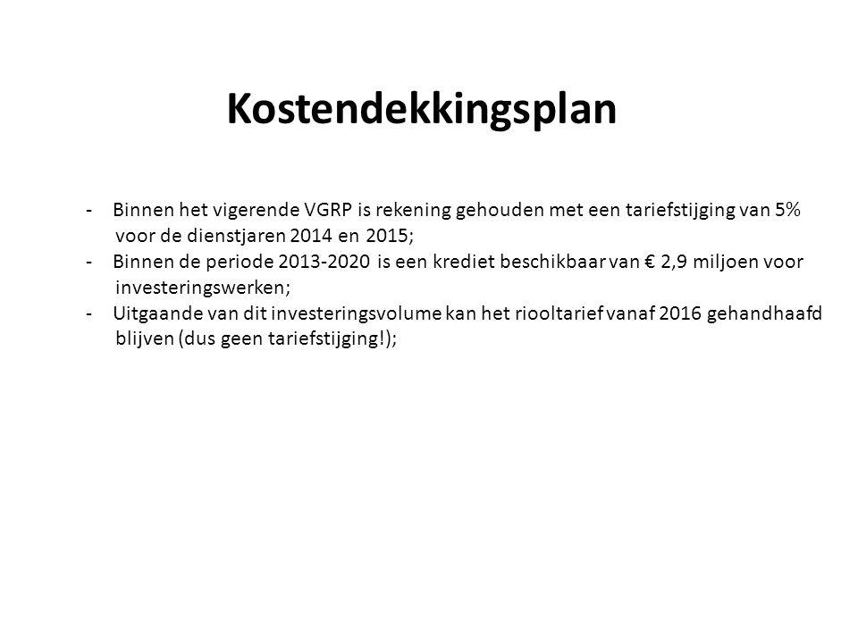Kostendekkingsplan -Binnen het vigerende VGRP is rekening gehouden met een tariefstijging van 5% voor de dienstjaren 2014 en 2015; -Binnen de periode 2013-2020 is een krediet beschikbaar van € 2,9 miljoen voor investeringswerken; -Uitgaande van dit investeringsvolume kan het riooltarief vanaf 2016 gehandhaafd blijven (dus geen tariefstijging!);