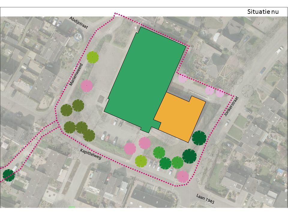 Schetsessie – Situatie nu – Onderzoek naar de bomen (zomer 2013) – Behouden lindes consequentie voor inrichting – Speelterrein – Parkeren – Water afkoppelen Situatie nu