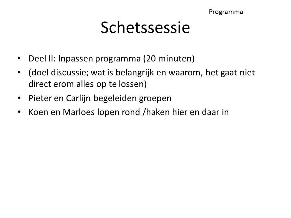 Programma Deel II: Inpassen programma (20 minuten) (doel discussie; wat is belangrijk en waarom, het gaat niet direct erom alles op te lossen) Pieter en Carlijn begeleiden groepen Koen en Marloes lopen rond /haken hier en daar in Schetssessie