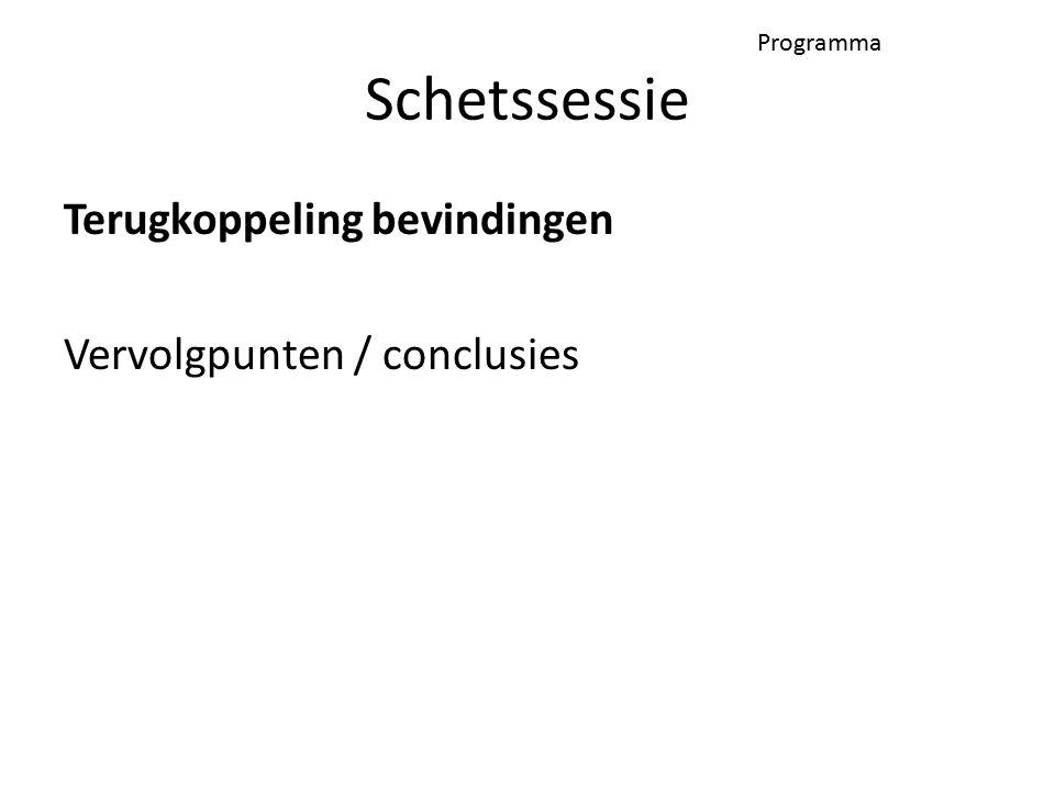 Programma Terugkoppeling bevindingen Vervolgpunten / conclusies Schetssessie