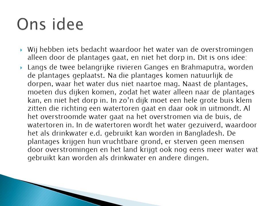  Wij hebben iets bedacht waardoor het water van de overstromingen alleen door de plantages gaat, en niet het dorp in.