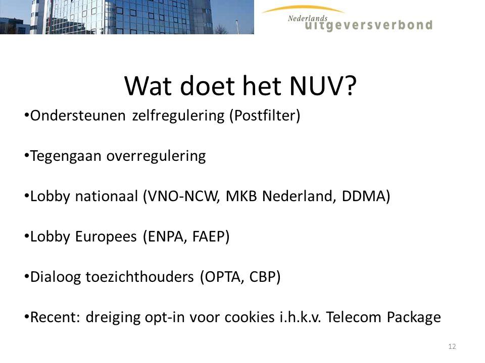Wat doet het NUV? Ondersteunen zelfregulering (Postfilter) Tegengaan overregulering Lobby nationaal (VNO-NCW, MKB Nederland, DDMA) Lobby Europees (ENP