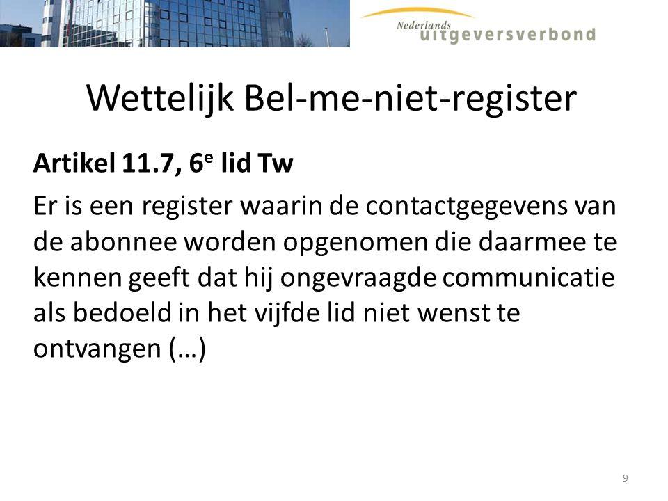 Bel-me-niet-register (www.bel-me-niet.nl) Beheerder: Stichting Infofilter Toezichthouder: OPTA Consumenten kunnen zich inschrijven in register indien zij geen ongevraagde (verkoop)telefoontjes willen ontvangen 10