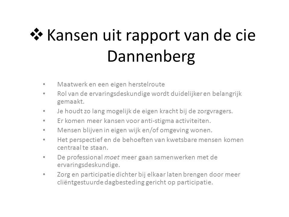  Kansen uit rapport van de cie Dannenberg Maatwerk en een eigen herstelroute Rol van de ervaringsdeskundige wordt duidelijker en belangrijk gemaakt.