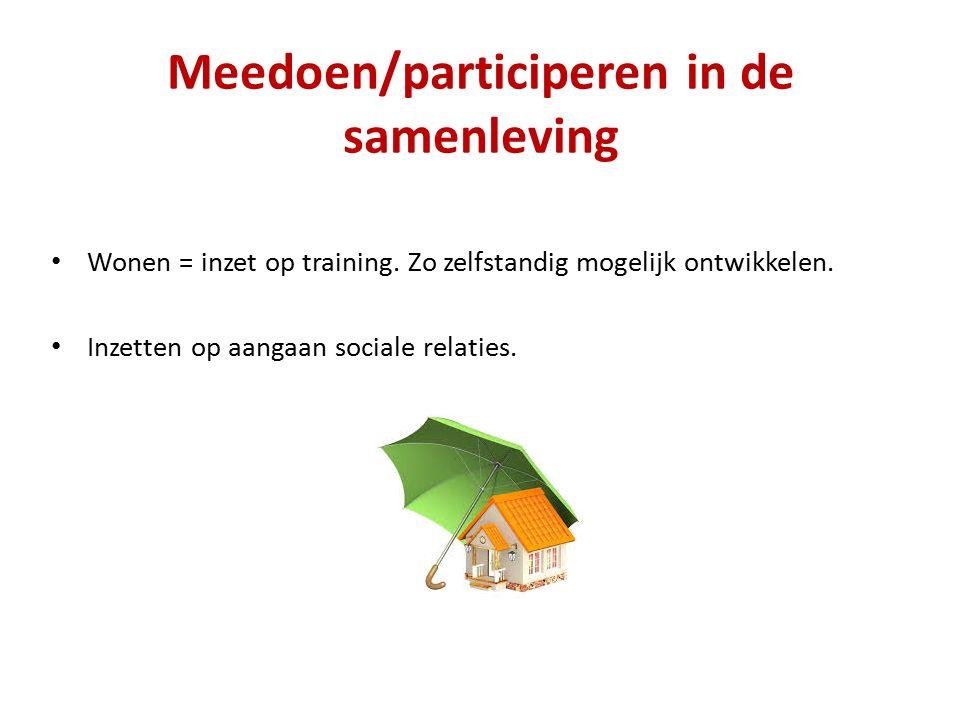 Meedoen/participeren in de samenleving Wonen = inzet op training.