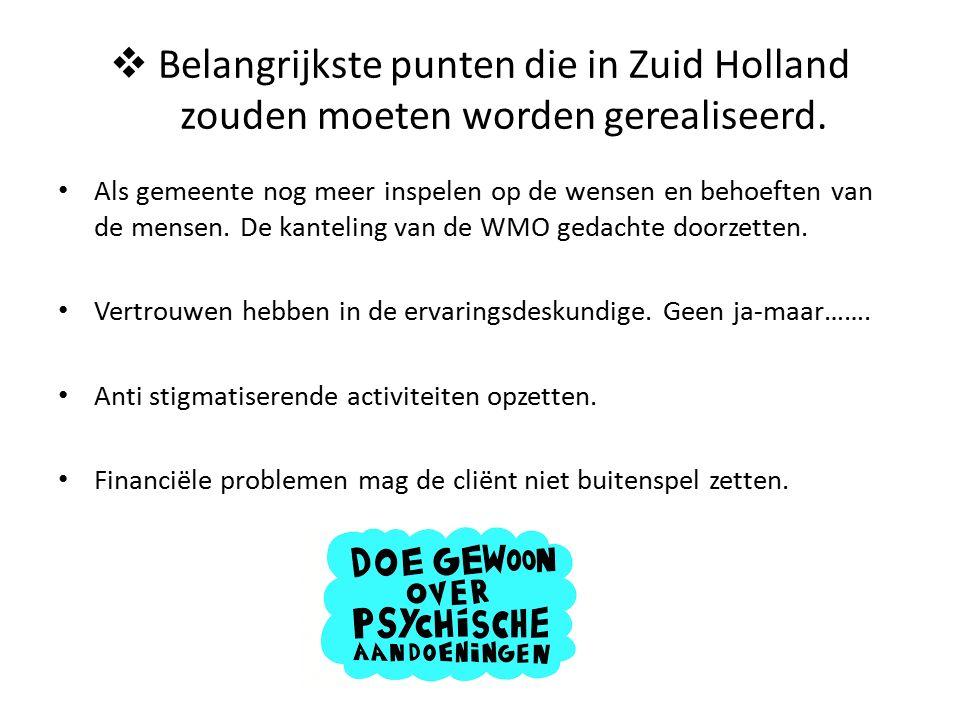  Belangrijkste punten die in Zuid Holland zouden moeten worden gerealiseerd.