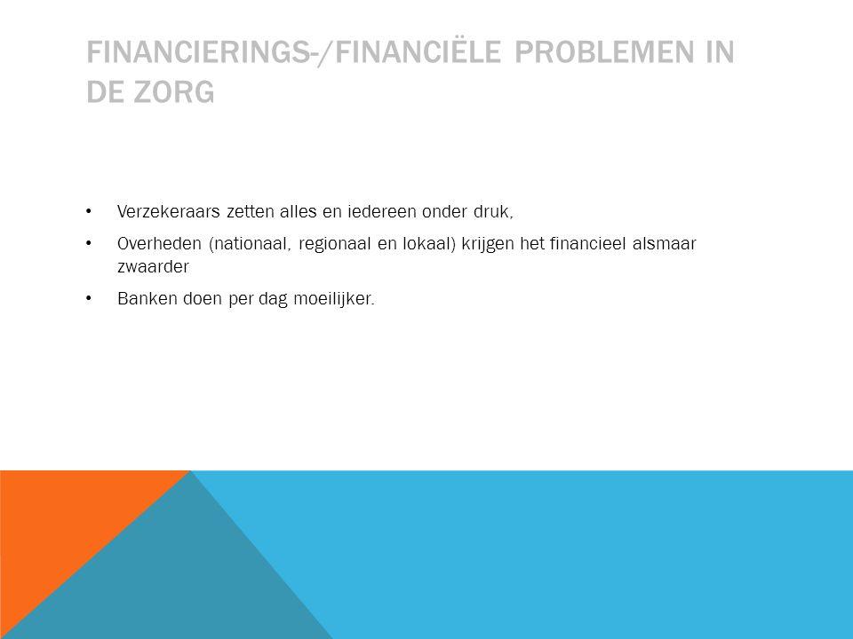 FINANCIERINGS-/FINANCIËLE PROBLEMEN IN DE ZORG Verzekeraars zetten alles en iedereen onder druk, Overheden (nationaal, regionaal en lokaal) krijgen het financieel alsmaar zwaarder Banken doen per dag moeilijker.