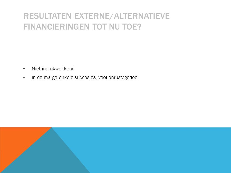 RESULTATEN EXTERNE/ALTERNATIEVE FINANCIERINGEN TOT NU TOE.
