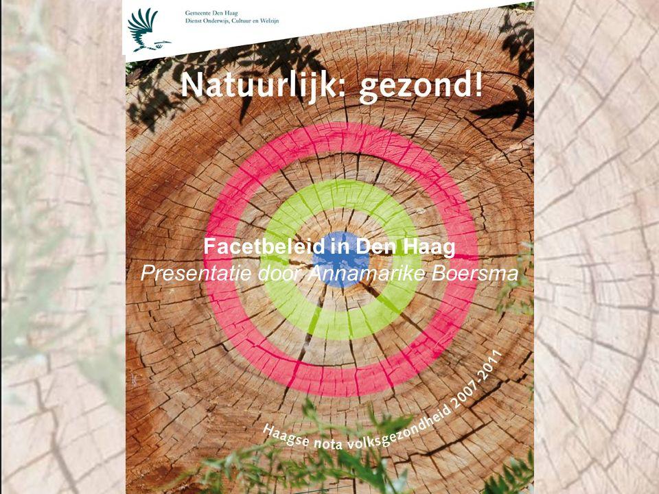 Facetbeleid in Den Haag Presentatie door Annamarike Boersma
