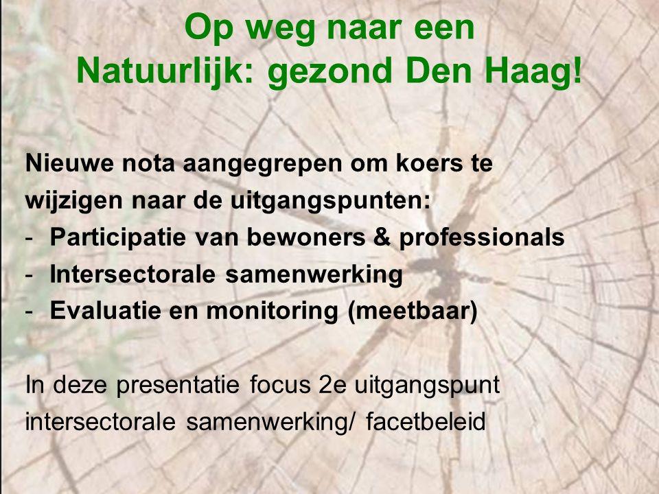 Op weg naar een Natuurlijk: gezond Den Haag! Nieuwe nota aangegrepen om koers te wijzigen naar de uitgangspunten: -Participatie van bewoners & profess