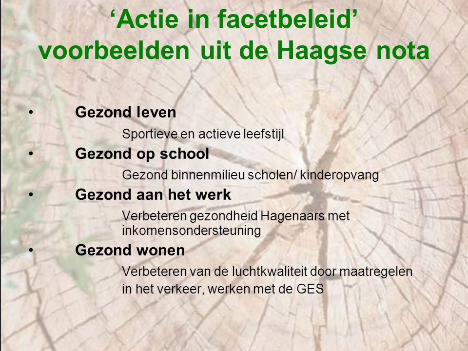 'Actie in facetbeleid' voorbeelden uit de Haagse nota Gezond leven Sportieve en actieve leefstijl Gezond op school Gezond binnenmilieu scholen/ kinder