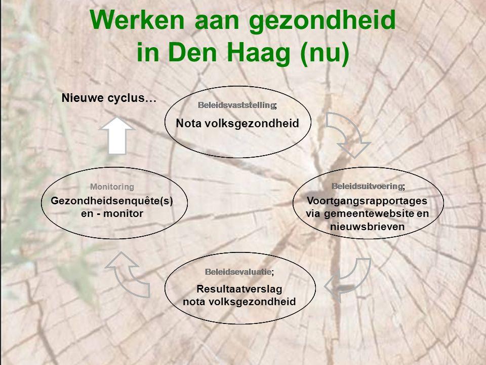 'Actie in facetbeleid' voorbeelden uit de Haagse nota Gezond leven Sportieve en actieve leefstijl Gezond op school Gezond binnenmilieu scholen/ kinderopvang Gezond aan het werk Verbeteren gezondheid Hagenaars met inkomensondersteuning Gezond wonen Verbeteren van de luchtkwaliteit door maatregelen in het verkeer, werken met de GES