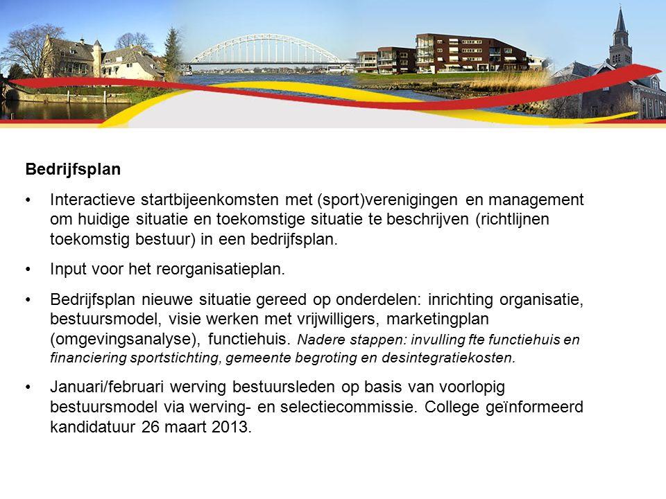 Bedrijfsplan Interactieve startbijeenkomsten met (sport)verenigingen en management om huidige situatie en toekomstige situatie te beschrijven (richtlijnen toekomstig bestuur) in een bedrijfsplan.