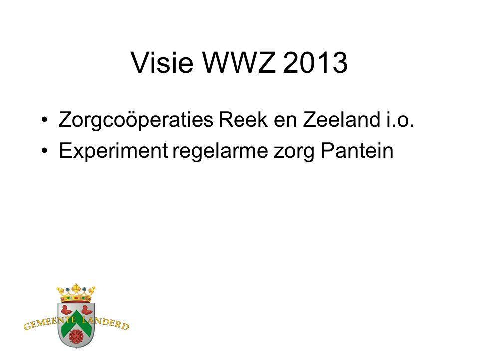 Visie WWZ 2013 Zorgcoöperaties Reek en Zeeland i.o. Experiment regelarme zorg Pantein