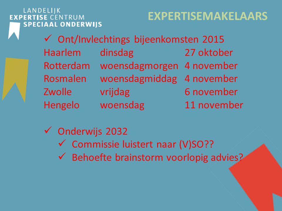EXPERTISEMAKELAARS Ont/Invlechtings bijeenkomsten 2015 Haarlem dinsdag 27 oktober Rotterdam woensdagmorgen 4 november Rosmalenwoensdagmiddag4 november Zwollevrijdag6 november Hengelowoensdag11 november Onderwijs 2032 Commissie luistert naar (V)SO .