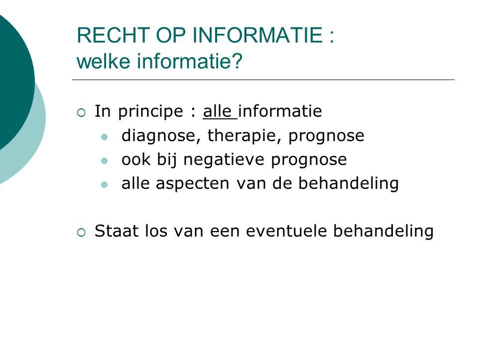 RECHT OP INFORMATIE : welke informatie.